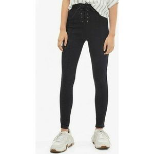 Bershka High Rise Lace Up Jeans